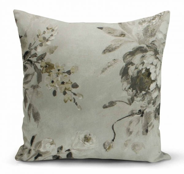 Decorative pillow - light gray background, large flowers
