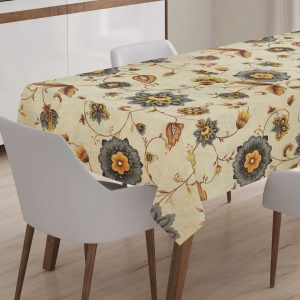 Tablecloth upon request, Patricia gris with beige background