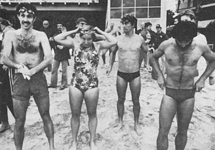 Frank and the other pioneering first triathletes at an aid station, Hawaii, 1979.