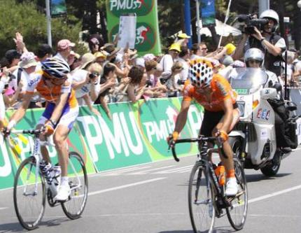 Rabobank in a little disarray earlier on the stage.