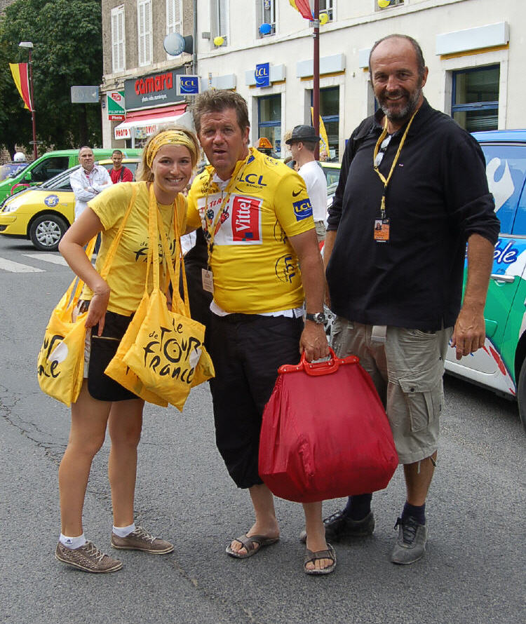 Yellow Jersey wearer, Vincent Barteau and pals.