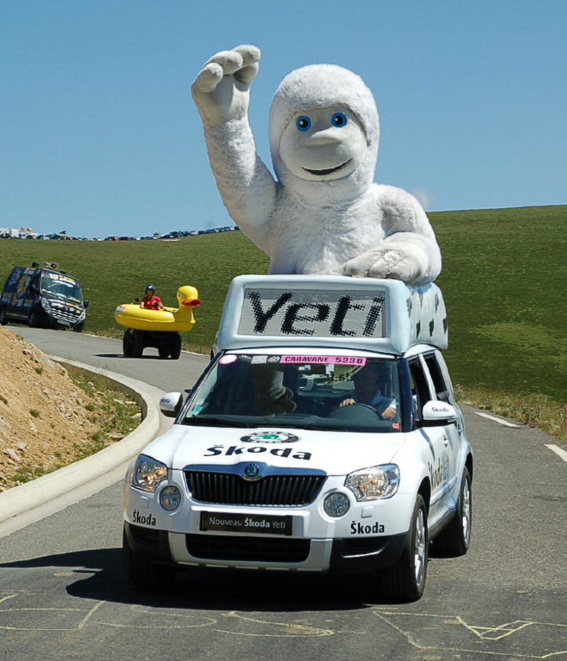 The Yeti car and, er, yeti.