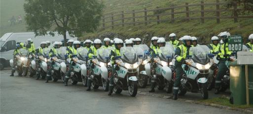 The Vuelta has great police support.