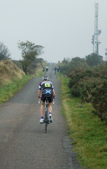 Grant can see some support from the Peebles club up ahead.