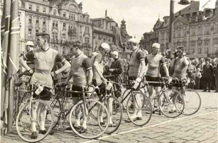 The GB team on the Peace Race start line in Prague in 1957, Jimmy is on the right.
