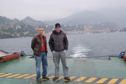 Callum and Dave try to stay on the ferry deck.