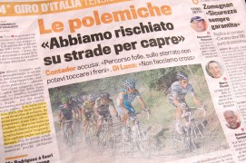 "Contador is scathing in his comments; 'percorso folle' - ""race route insane."""