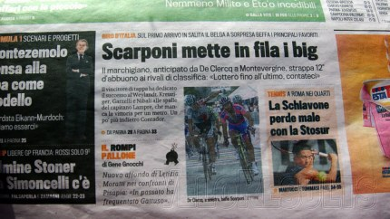 The Italian sports daily confirms the potential tedium-horror of today's stage - one star difficulty. Yesterday was given three stars.