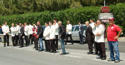 But a little further south the waiters are out from the Tyrrenian Hotel to catch the Giro - this is more like it!