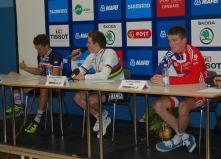 The podium get interviewed.