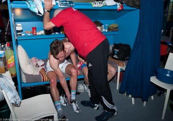 Iljo Keisse gets a rub down after a hard Madision.