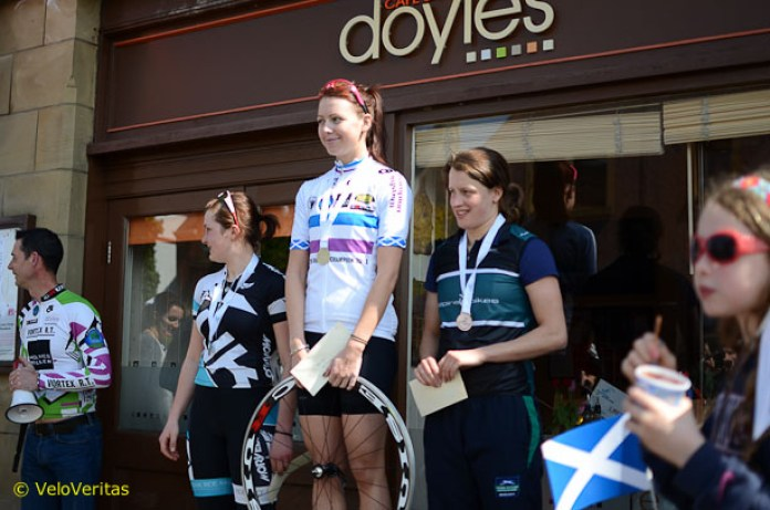 The Ladies' podium, with Kayleigh in the event winner's jersey - be a great National Champion's jersey, that would.