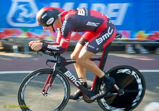 Taylor Phinney is off the back, but staying calm and driving back on.