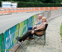 Despite the fact that it's 'only' the junior time trial this morning, the 'hard core' have already grabbed their spots.