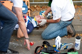Eva Mottet's (France) race came to an abrupt end after a bad crash in the first 10K.