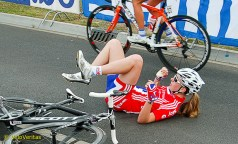 One of the GB team crosses the line and promptly falls off at my feet.