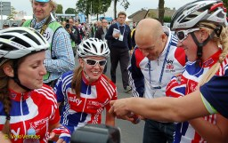 GB boss David Brailsford comes across to congratulate the girls as they celebrate.