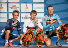 The U23 Podium: Bryan Coquard, Alexey Lutsenko and Tom Van Asbroeck.