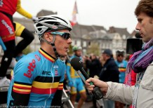 The Hot Favourite giving an interview before the start.