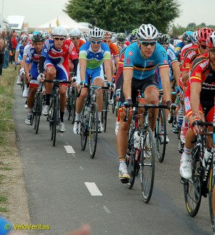 Phil Gilbert looks comfortable in the front half of the peloton.