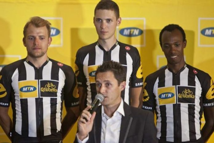 Team Principal Doug Ryder with some of the riders at the squad's presentation. Photo©MTN