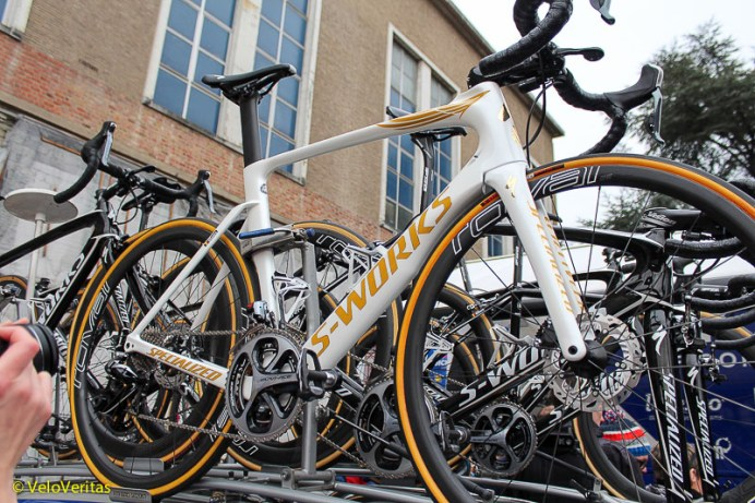 Tom Boonen's S-Works, with gold decals and discs.