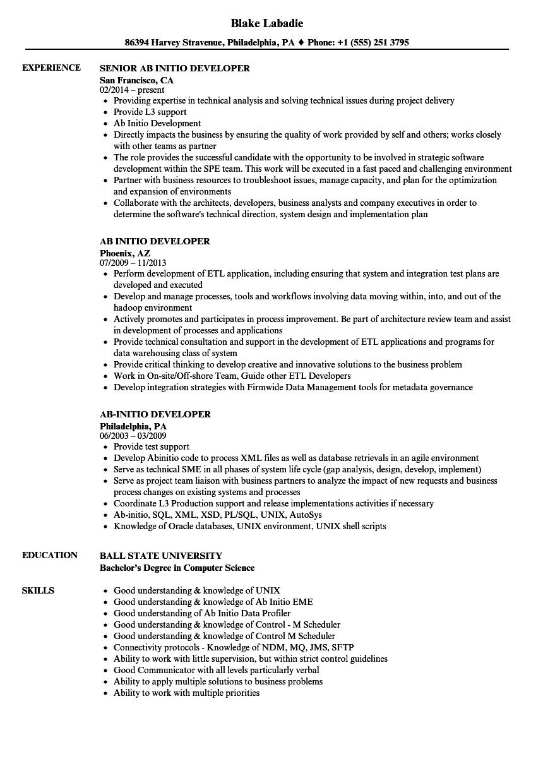 ab initio tester resume sample