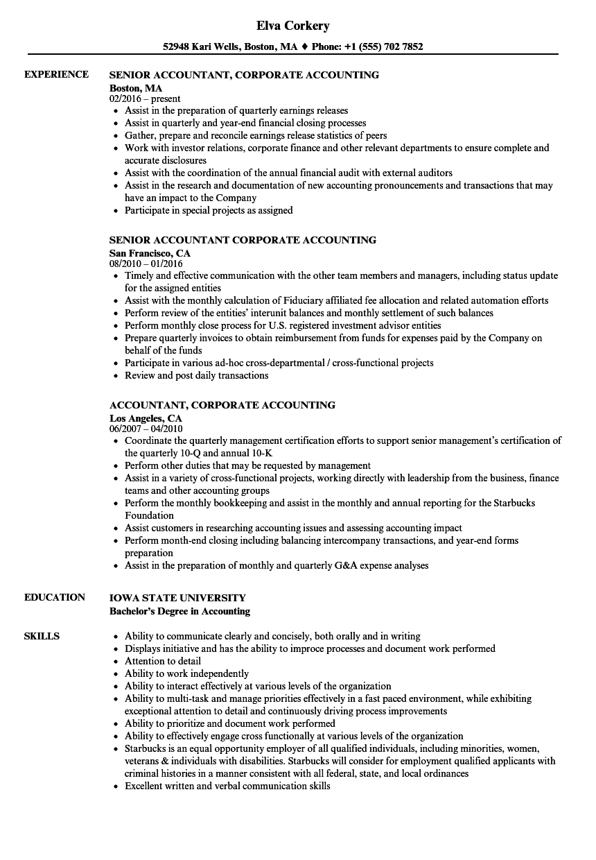 Accountant Corporate Accounting Resume Samples Velvet Jobs