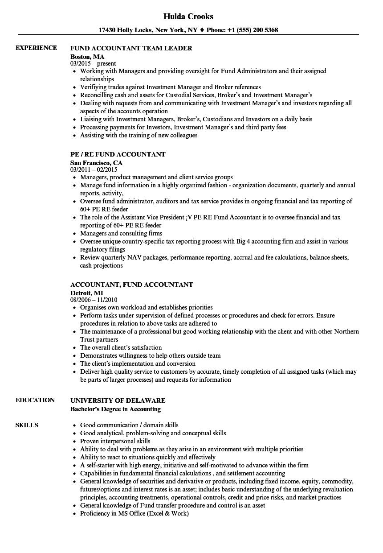 fund accountant resume example