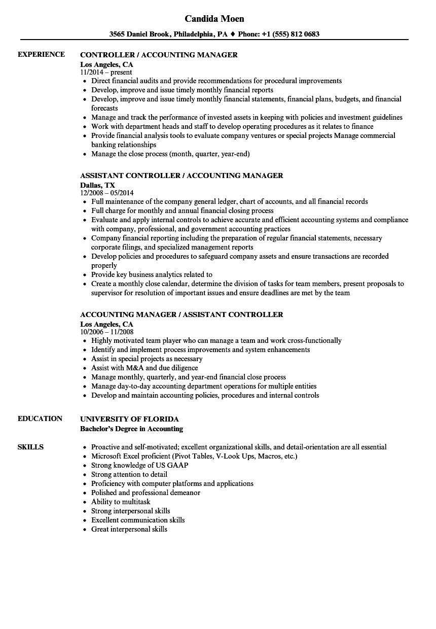 Amazing Sample Of Accounting Manager Resume Gallery …