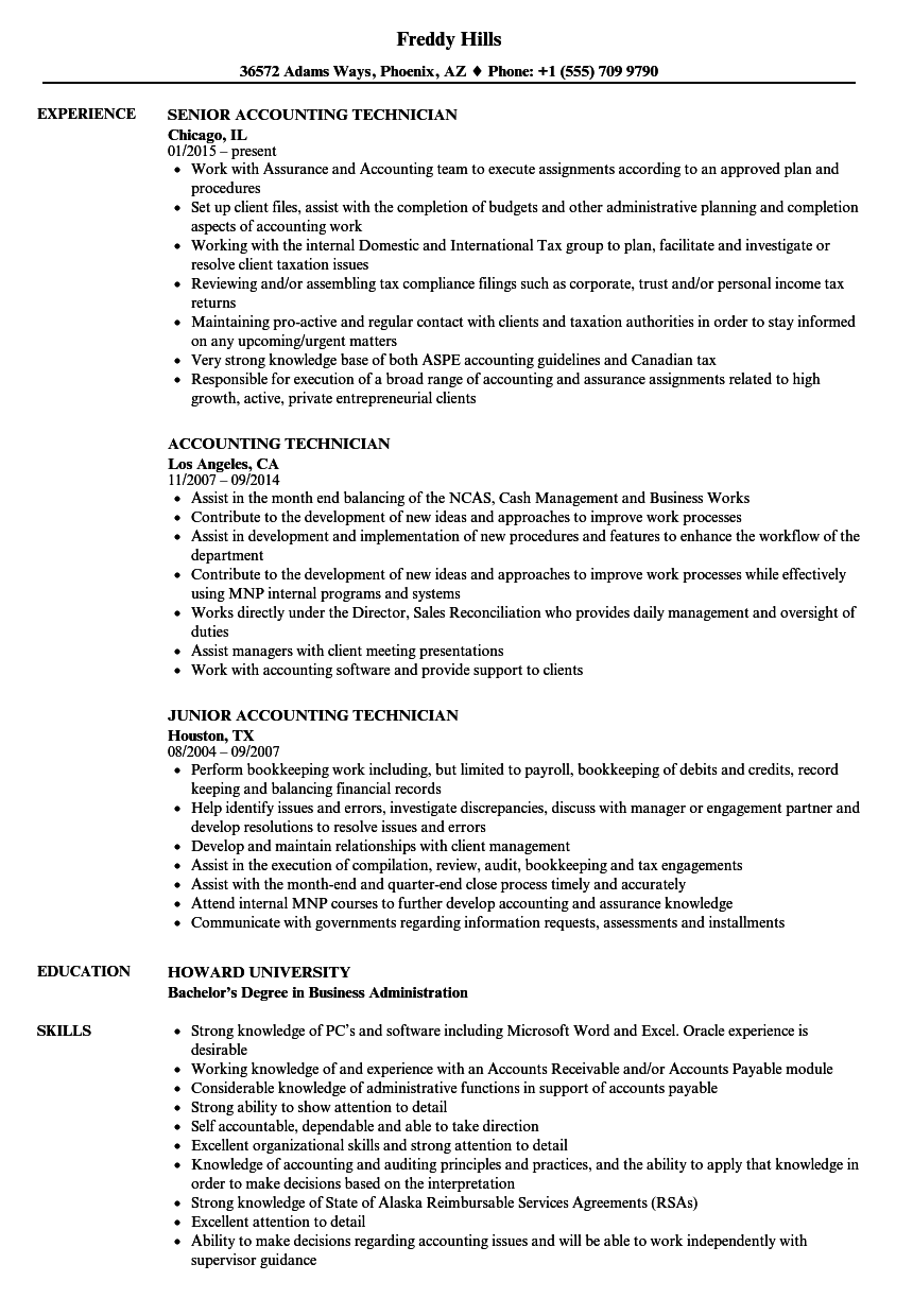 Download Accounting Technician Resume Sample As Image File