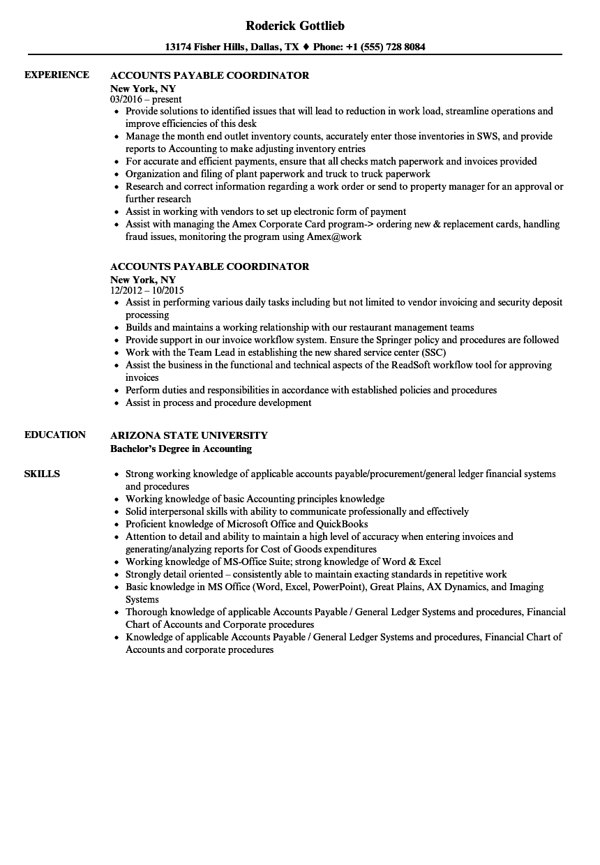 Accounts Payable Coordinator Resume Samples  Velvet Jobs