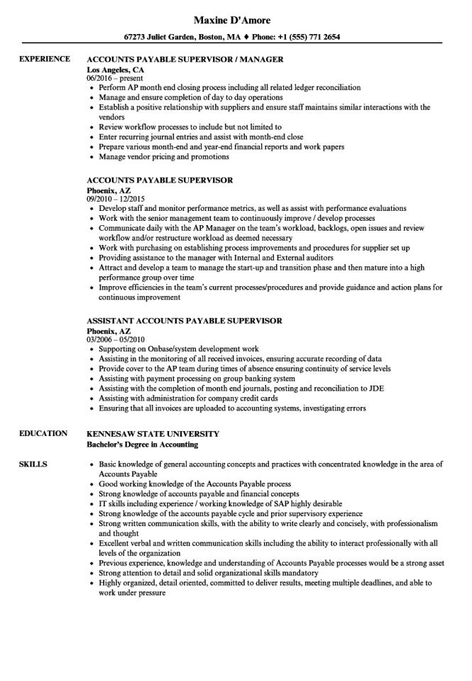 Accounts Payable Supervisor Resume Samples Velvet Jobs