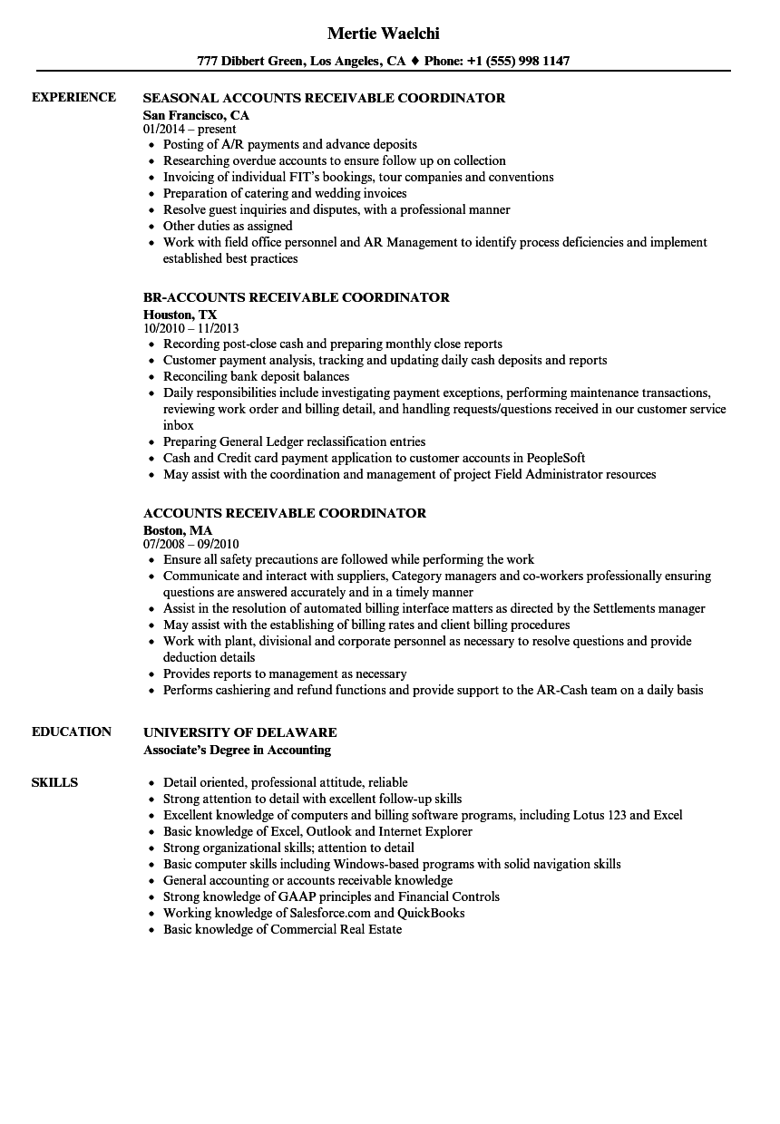 Download Accounts Receivable Coordinator Resume Sample As Image File