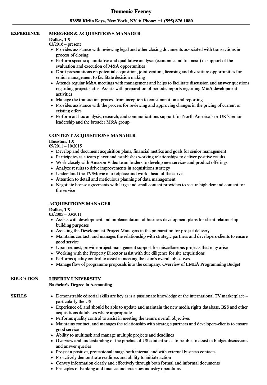 Acquisitions Manager Resume Samples Velvet Jobs