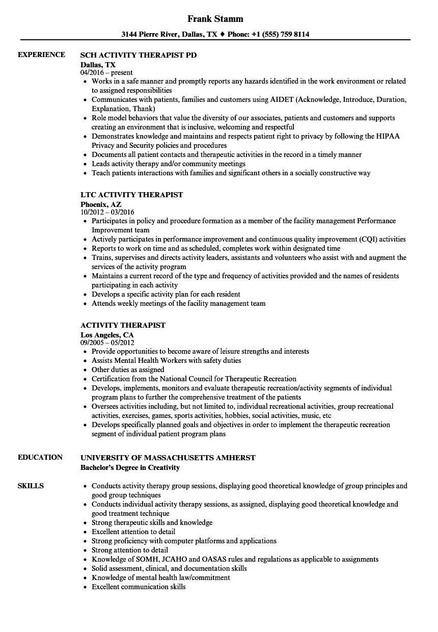 Activity Therapist Resume Samples Velvet Jobs