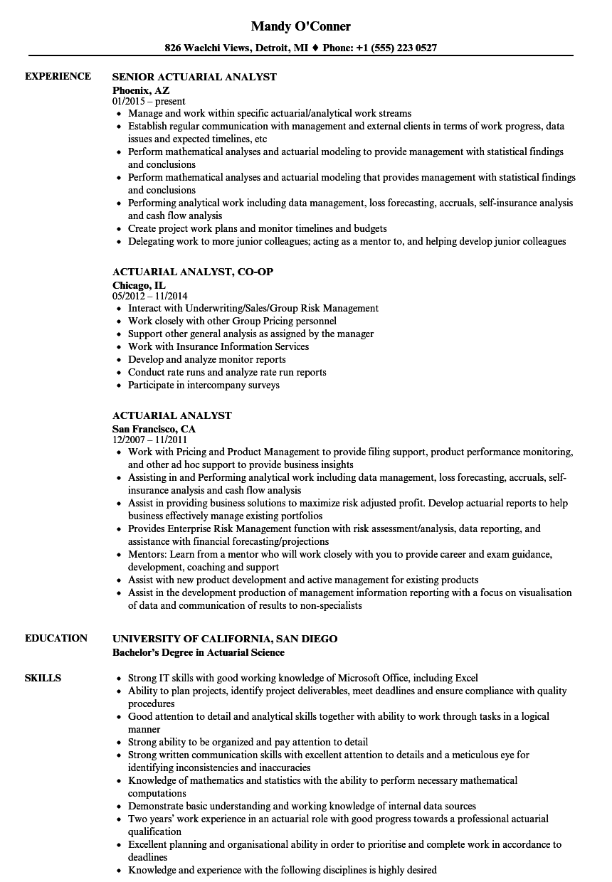 Actuarial Analyst Resume Samples Velvet Jobs