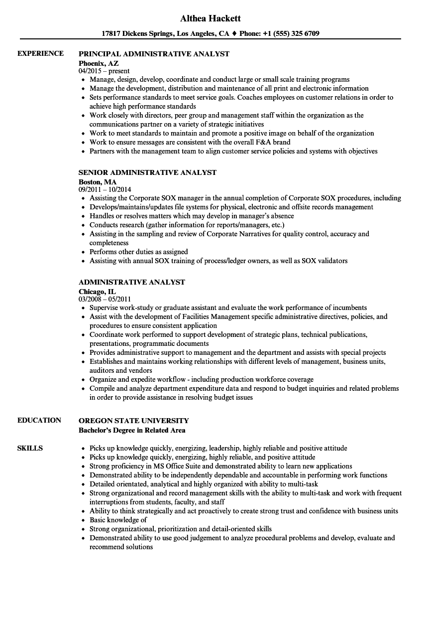Administrative Analyst Resume Samples Velvet Jobs