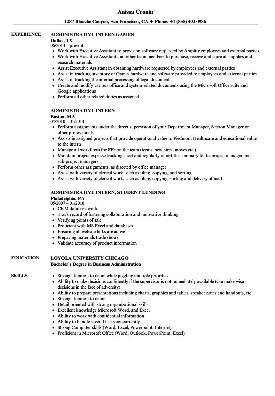 Administrative Intern Resume Samples Velvet Jobs