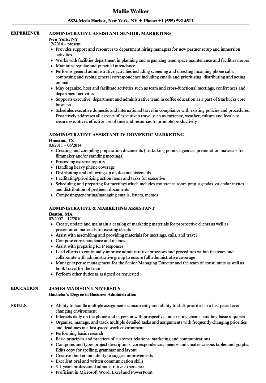 Administrative & Marketing Assistant Resume Samples