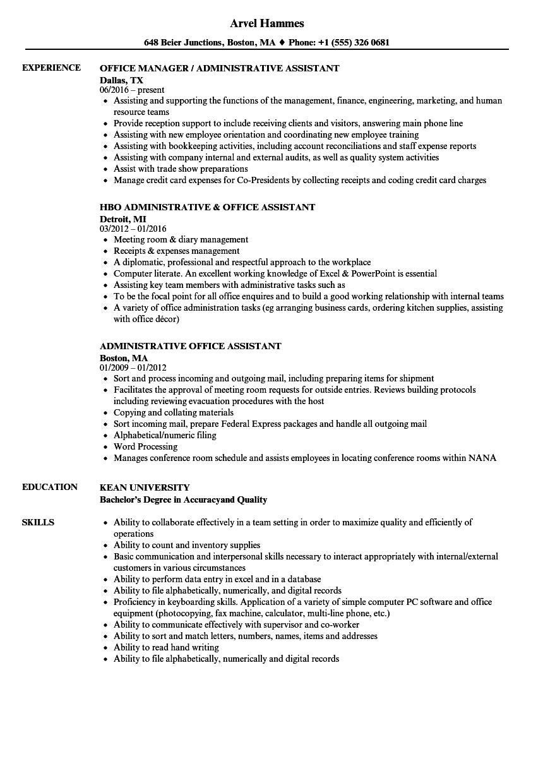 Administrative Office Assistant Resume Samples  Velvet Jobs