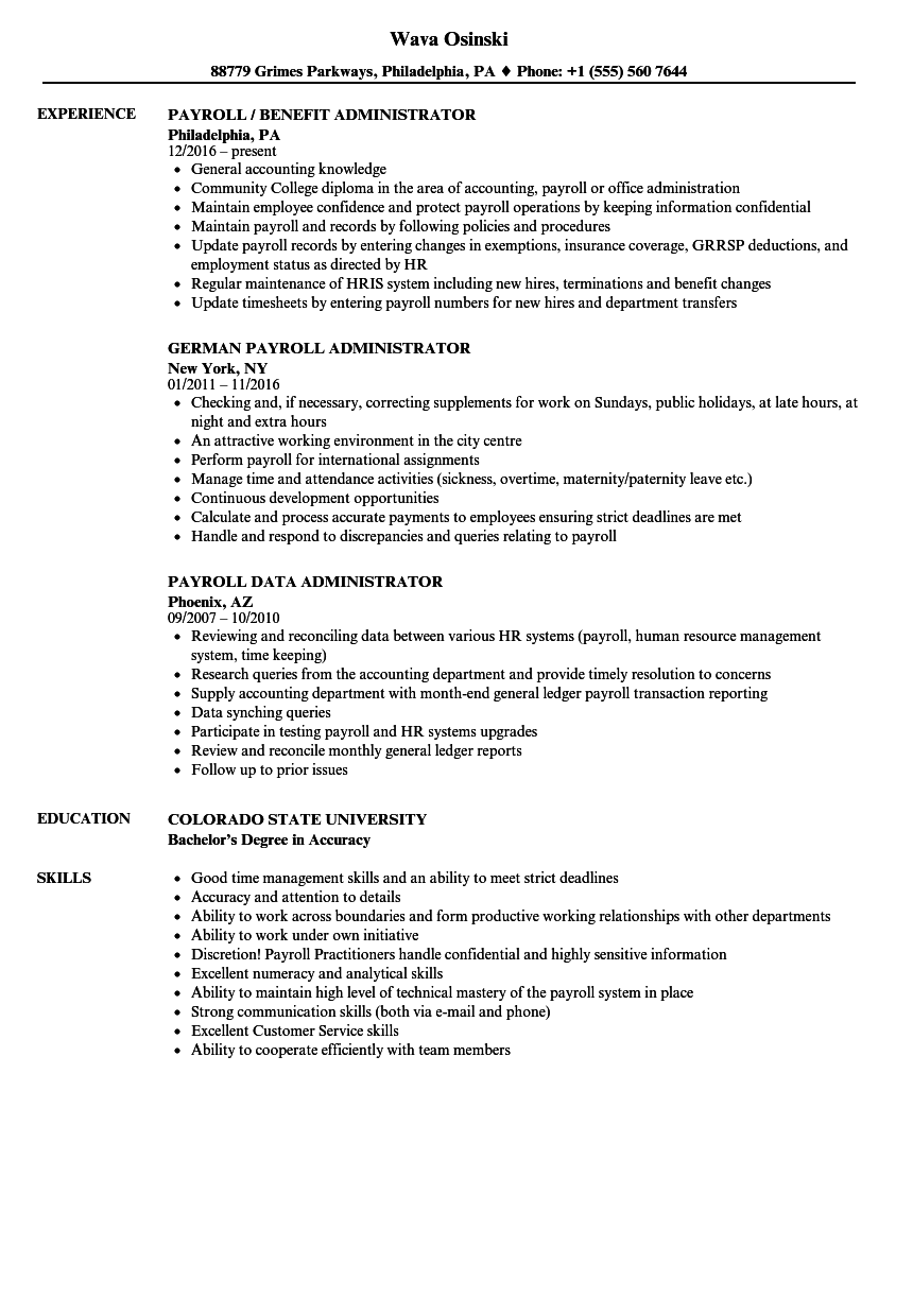 Administrator Payroll Resume Samples Velvet Jobs