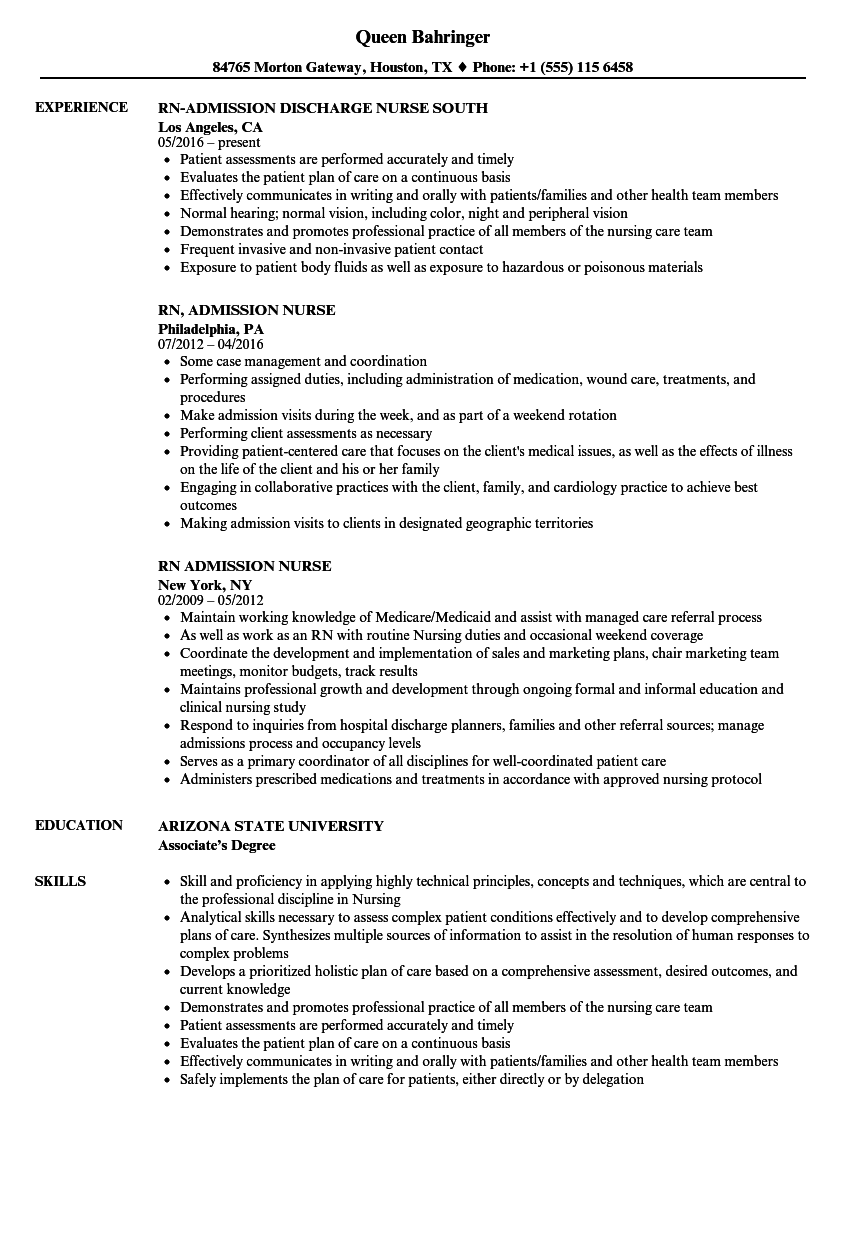 Admission Nurse Resume Samples Velvet Jobs