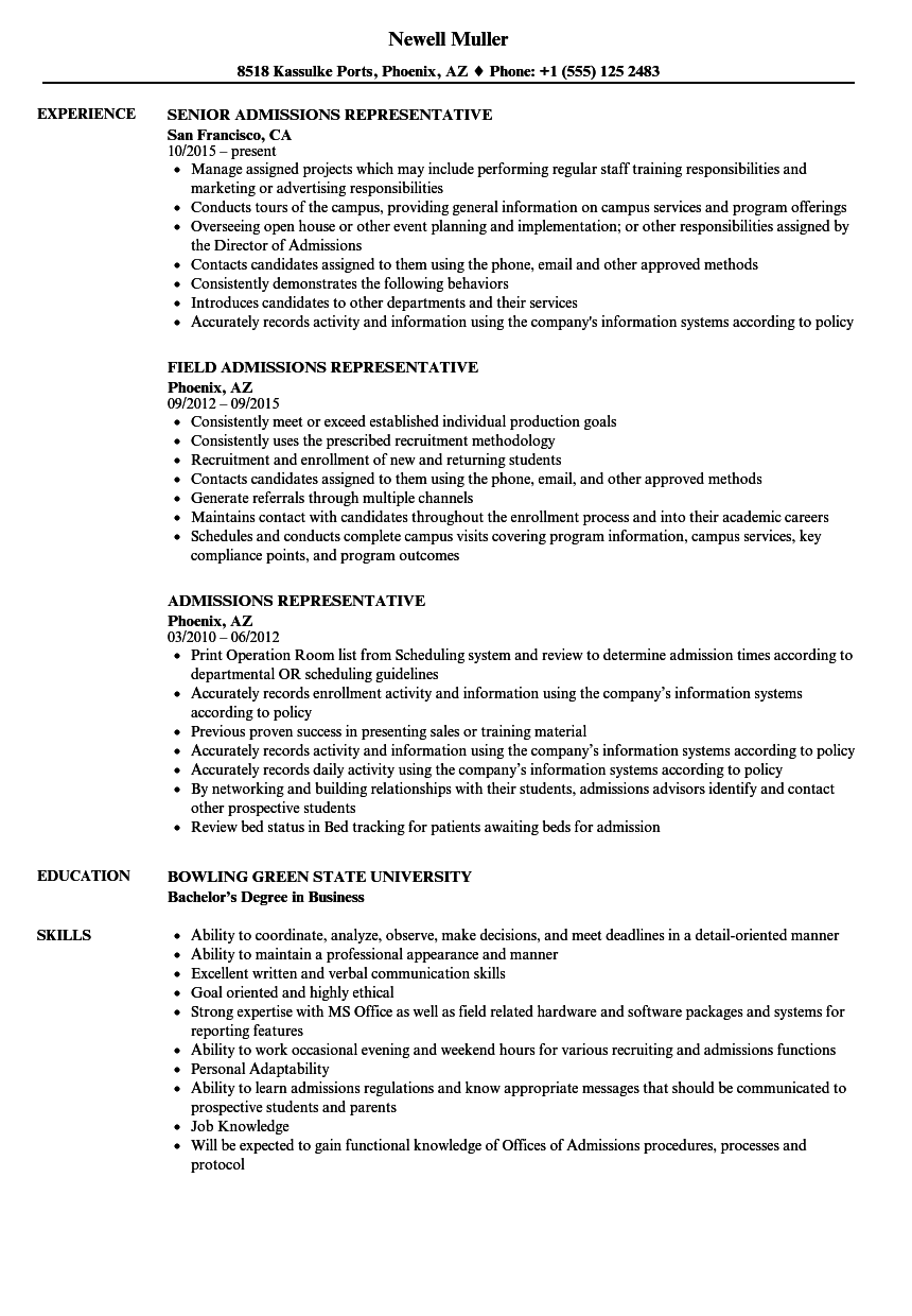 acceptance resume example