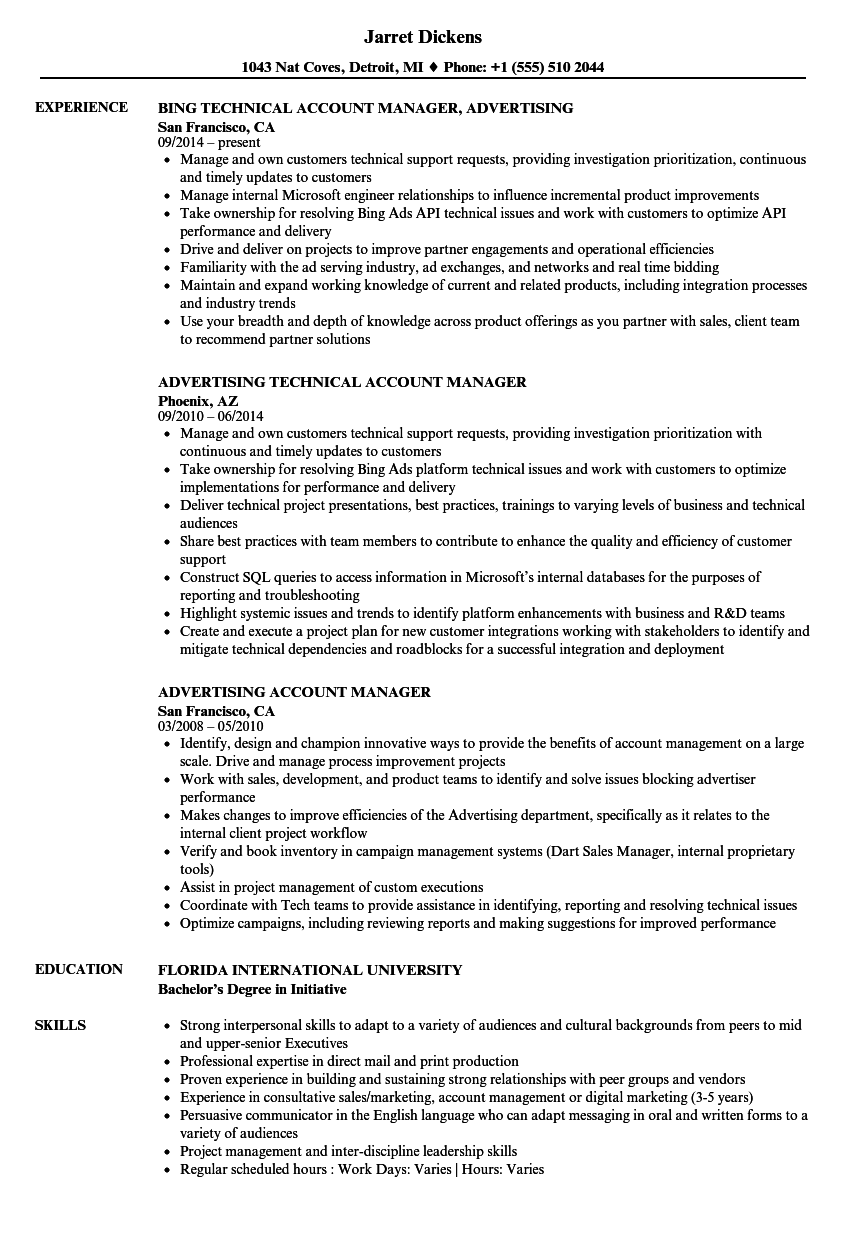 Advertising Account Manager Resume Samples | Velvet Jobs