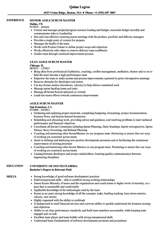 sample scrum master resume download