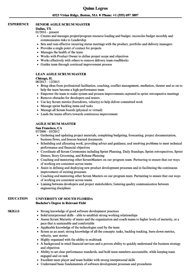 agile scrum master resume samples velvet jobs - Scrum Master Resume