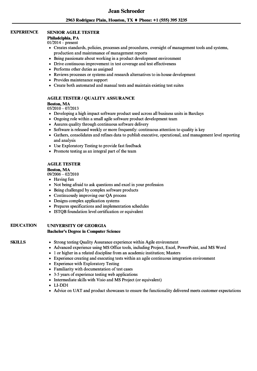 agile tester resume examples