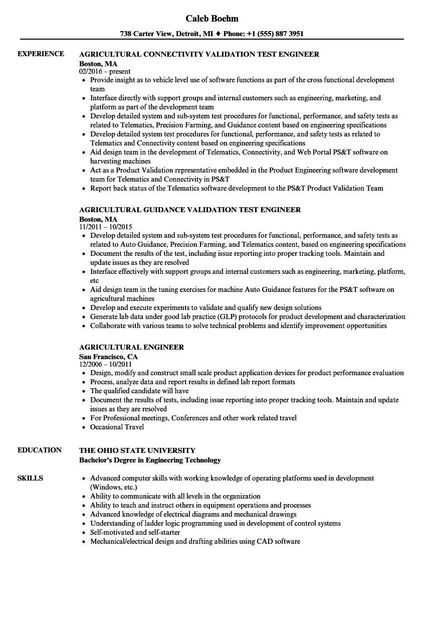 Download Agricultural Engineer Resume Sample As Image File