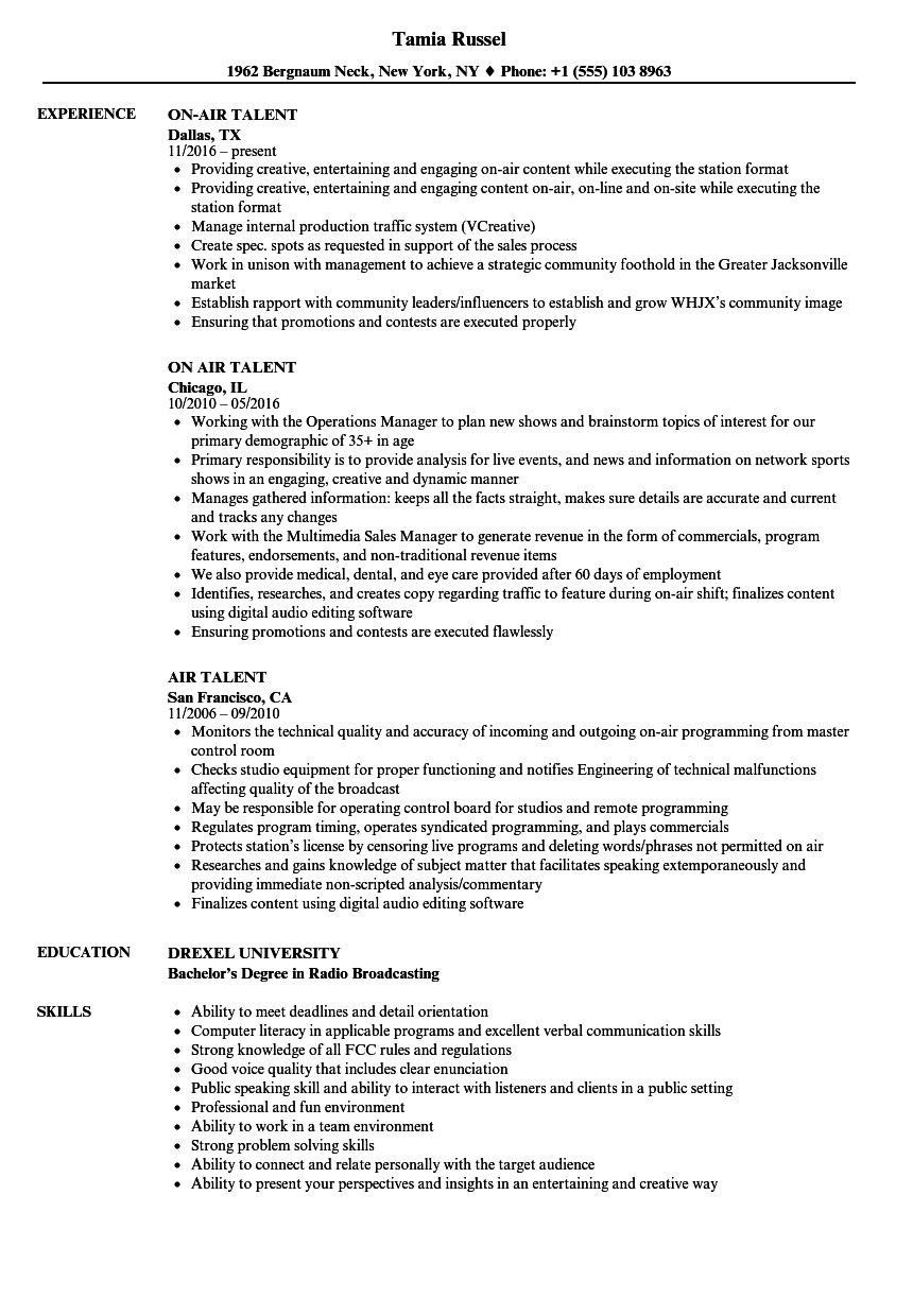Air Talent Resume Samples  Velvet Jobs
